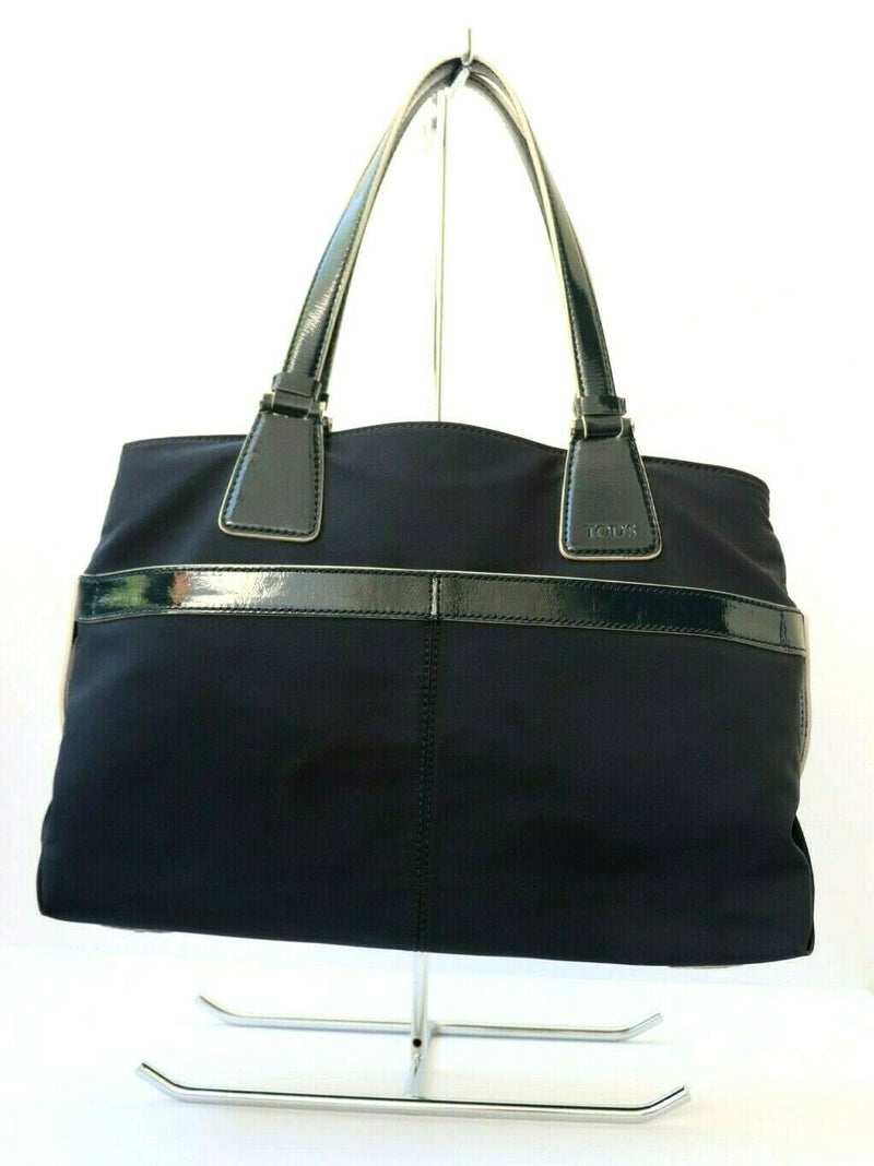 Tods Womens Navy Blue Large Tote Shoulder Handbag Nylon Purse