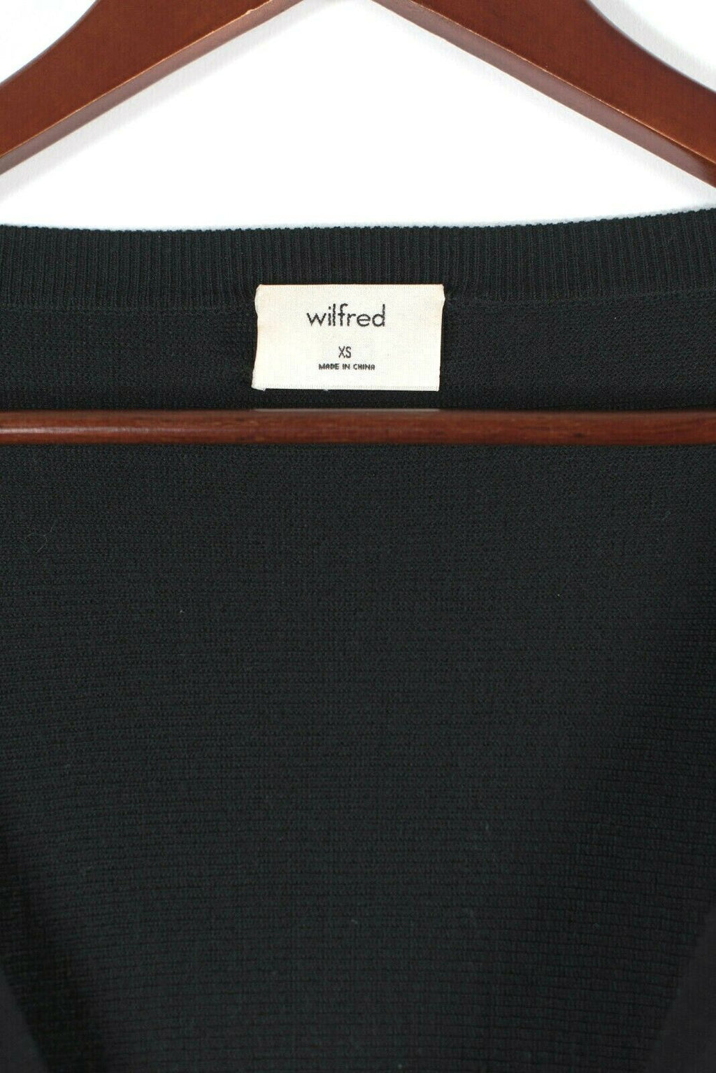 Aritzia Wilfred Womens XS Black Emmy Sweater Merino Wool Sleeve Cuff Tie Cropped