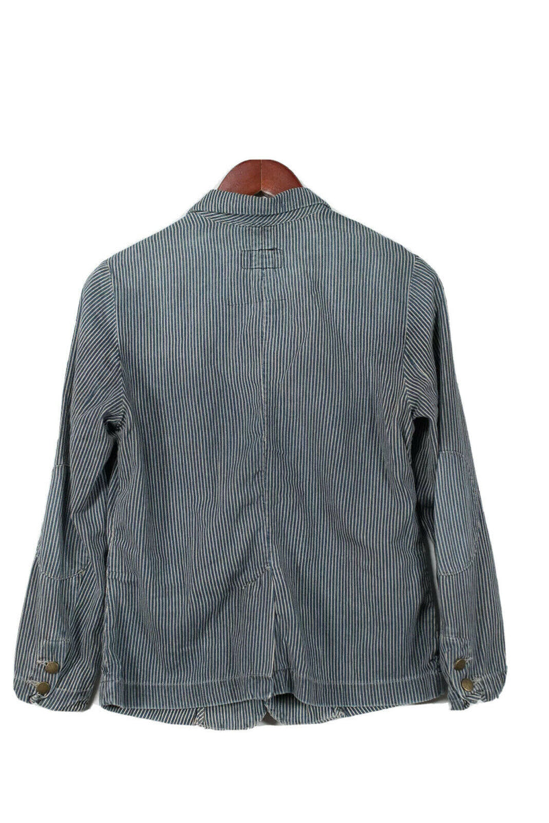 Current Elliott Womens Size Small Blue Denim Jacket Seersucker Stripe Blazer