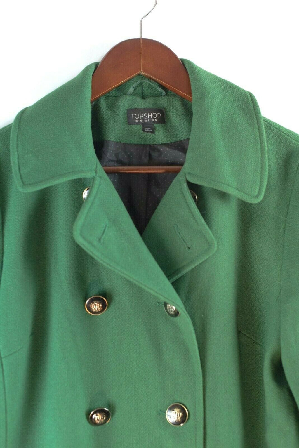 Topshop Womens Size 8 Green Coat Oversized Pockets Duster Ribbon Neck Tie Jacket