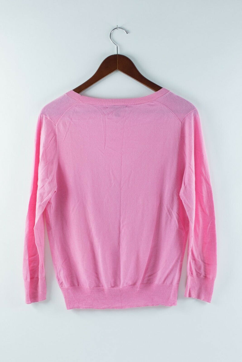 J Crew Womens Size Large Pink Cardigan Sweater Button Front Cotton Shirt Top