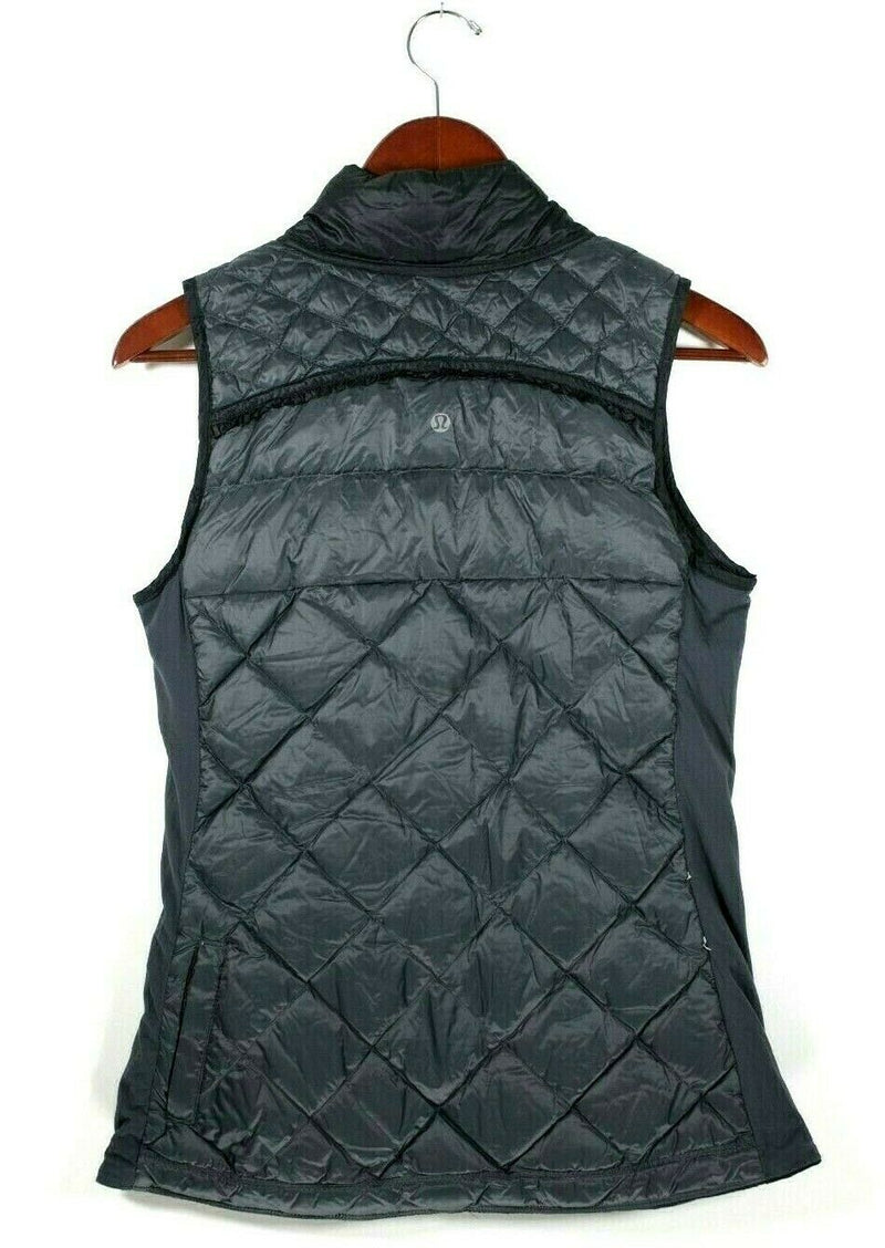 Lululemon What The Fluff  Womens Small Black Gray Vest Quilted Down Reversible