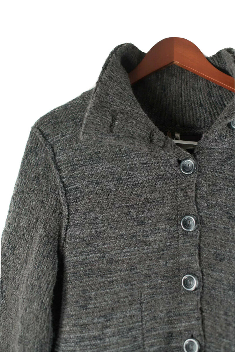 Free People Womens Large Grey Coat Button Knit Wool Boho Casual Cardigan Jacket