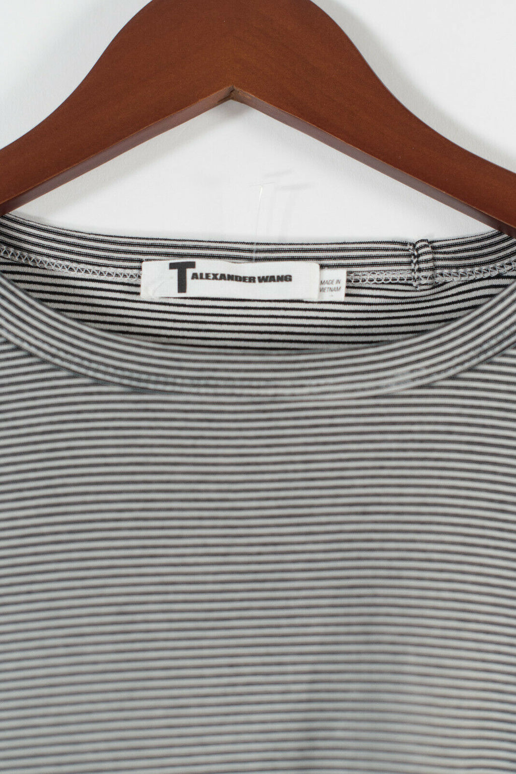 T Alexander Wang Size XS Black White Striped Tee Shirt