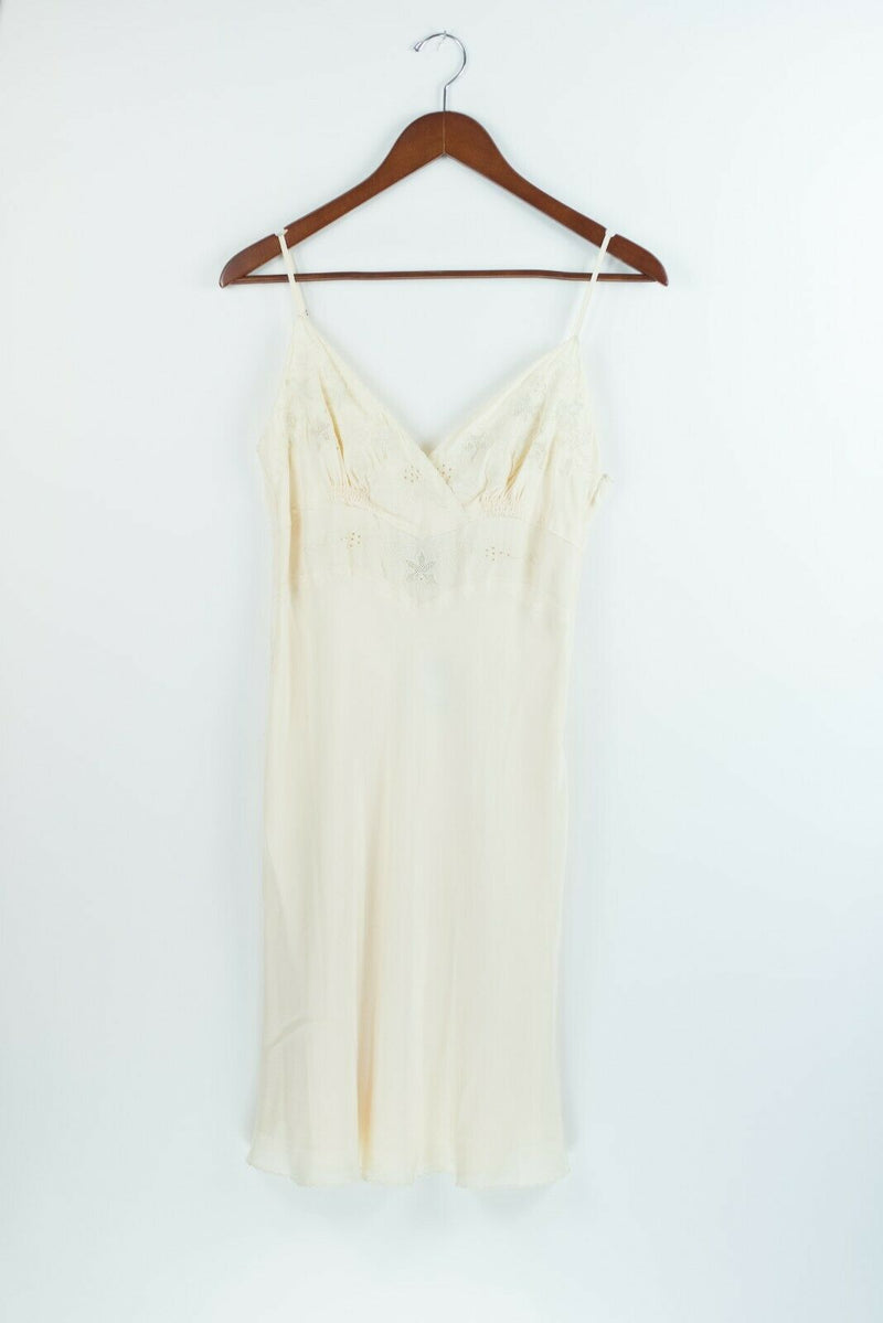 Club Monaco Womens Size 0 XS Cream Ivory Slip Dress Selina Silk Embroidered $179