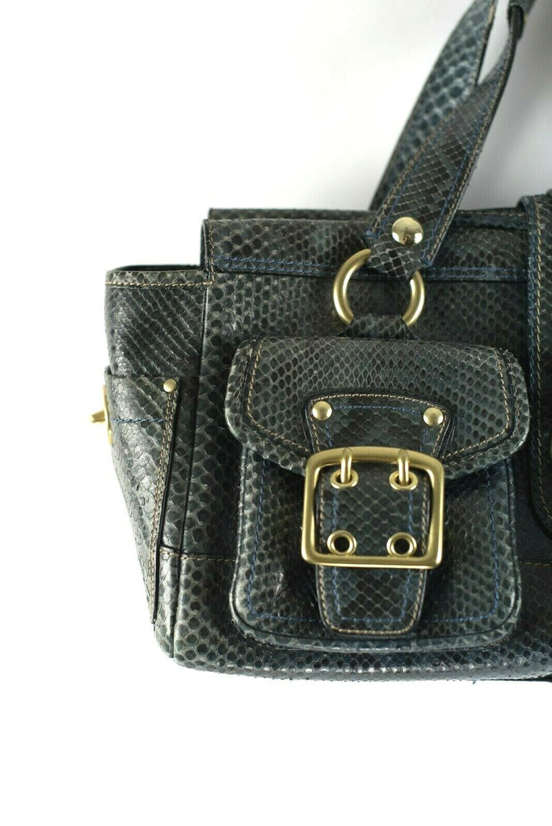 Coach Midnight Blue Satchel Genuine Python Leather Legacy Tote Bag Purse Rare