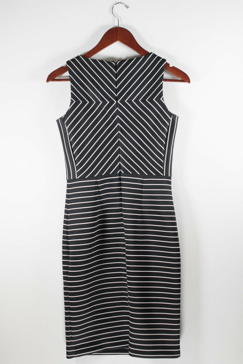Michael Michael Kors Womens Size 0 XS Black Dress Sleeveless Mini Striped Zipper