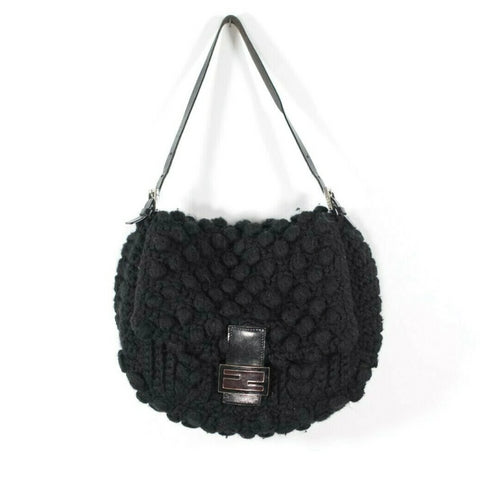 Gucci Womens Black Handbag Babouska GG Logo Large Indy Fringe Bamboo Hobo Bag