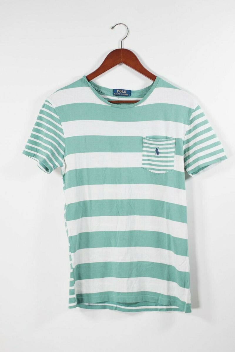 Polo Ralph Lauren Womens Small White Teal Green T Shirt Striped Logo Cotton Top