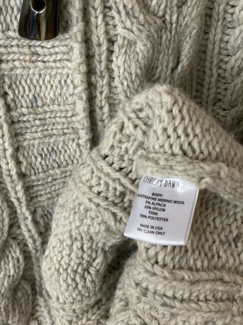 Christy Dawn Women's Size Small Beige Arlo Cardigan Sweater Hooded Cable Knit