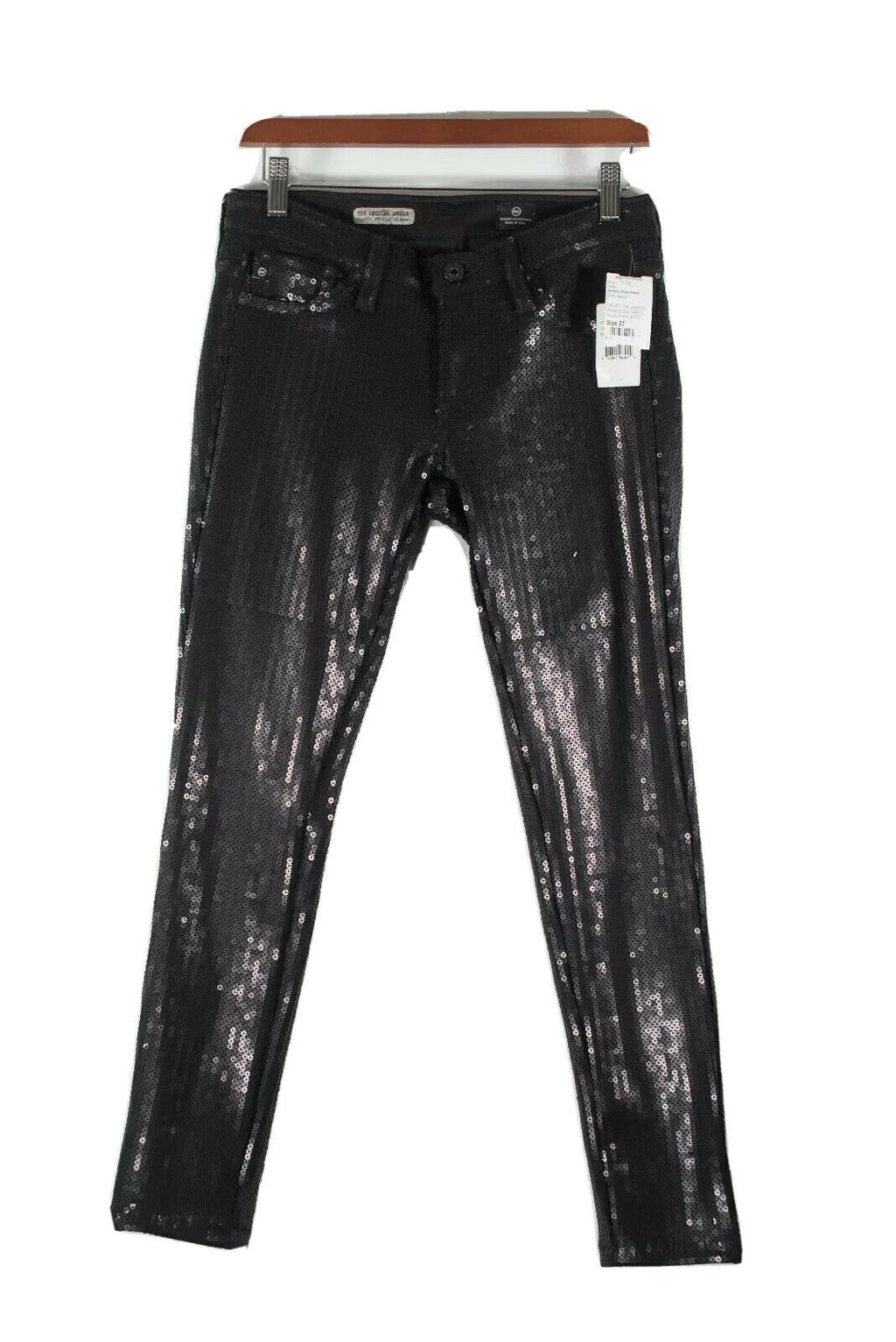 Adriano Goldschmied Womens Size 27 Black Sequin Ankle Leggings Pants Skinny NWT