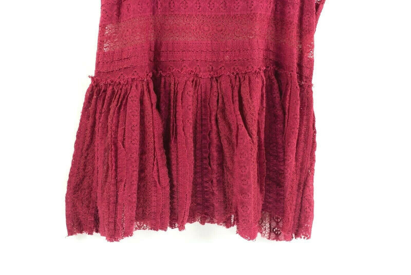 Free People Intimately Womens Size Small Red Tank Top Semi Sheer Lace Shirt Tee