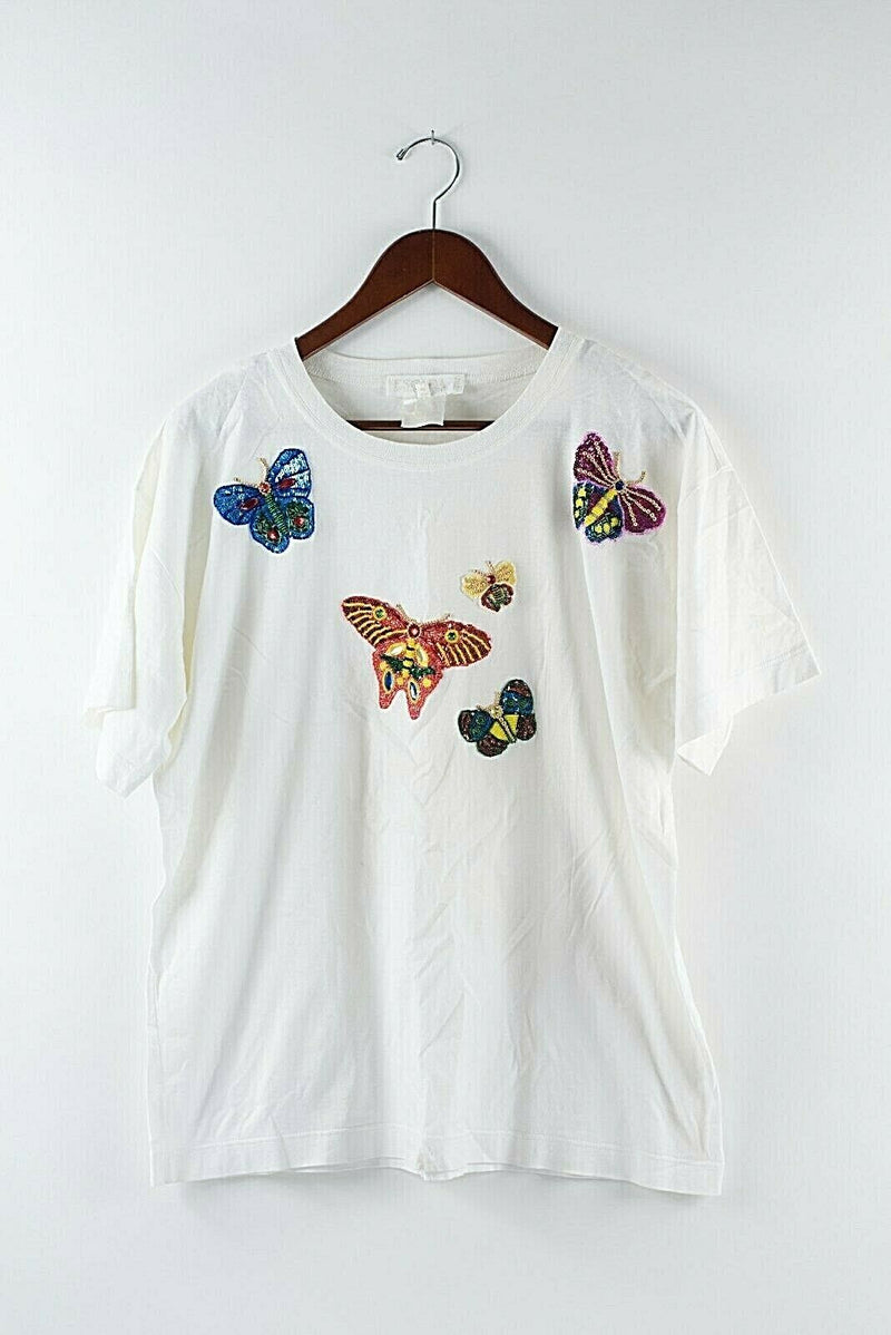 Escada Womens Size 40 Small White T Shirt Sequin Butterfly Vintage 90s Shirt Top