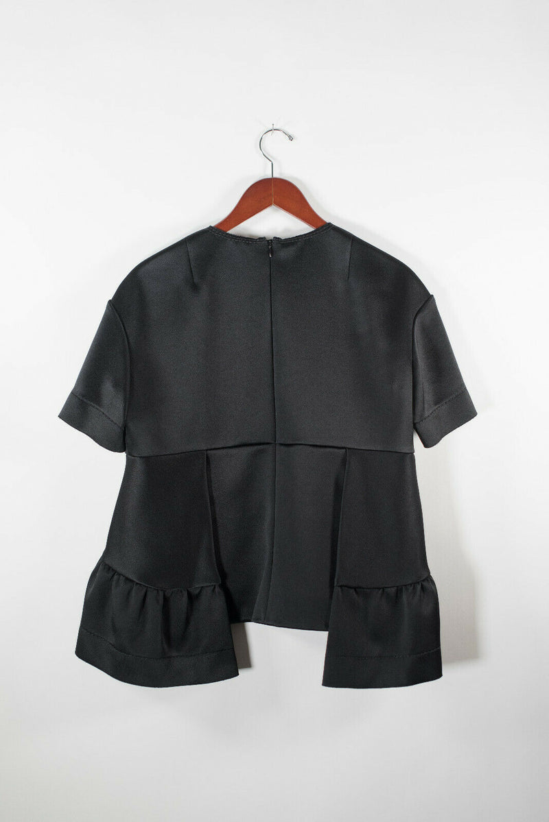 Marni Womens 44 Medium Black Blouse Satin Neoprene Peplum Top Short Sleeve Scuba