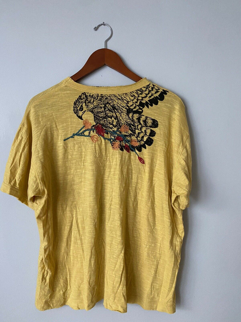 We the Free People Woman's XS Yellow Tee Shirt Embroidered Bird Cotton Shirt NWT