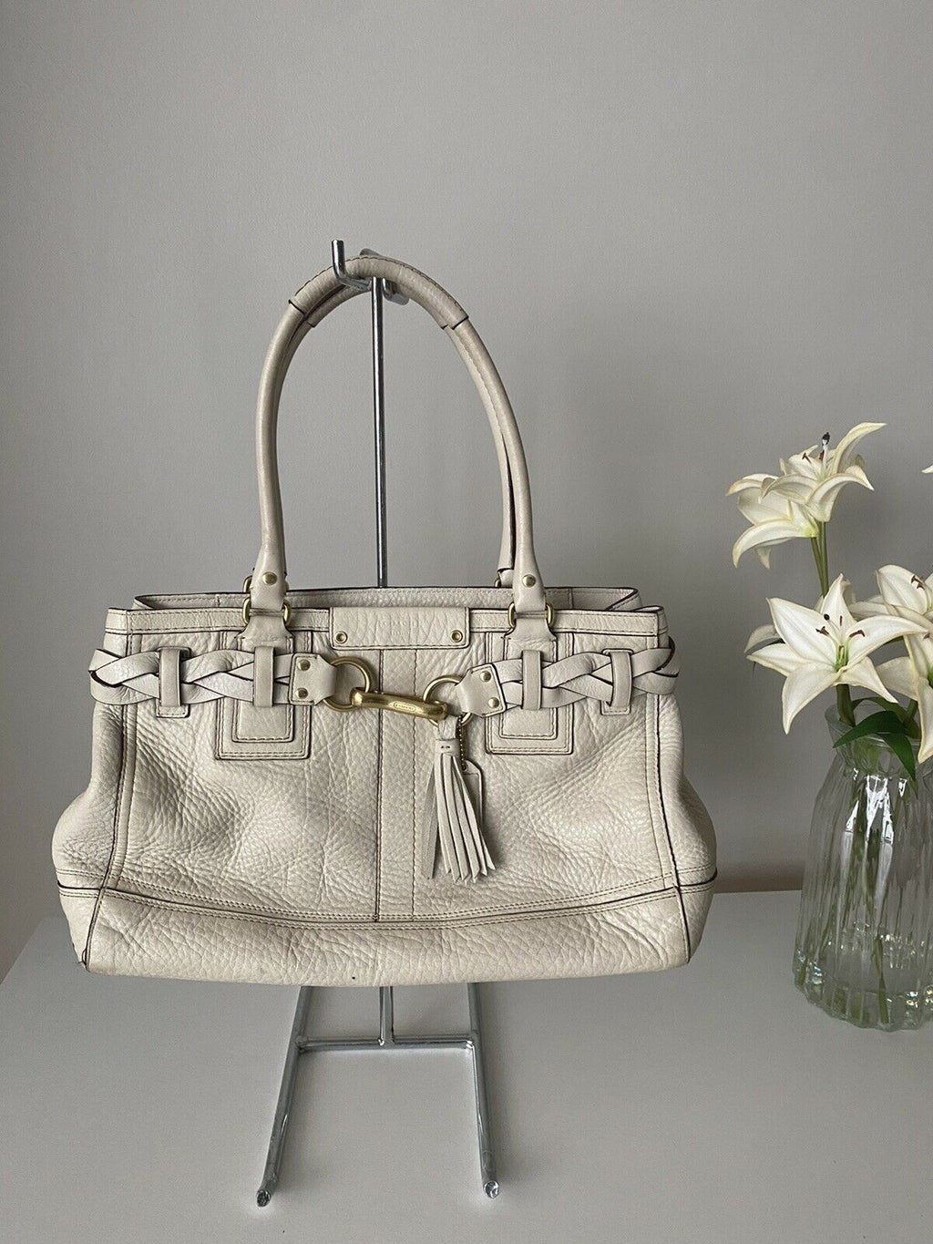 Coach Women's Medium Size Off-White Tote Handbag Leather Woven Trim Purse Bag