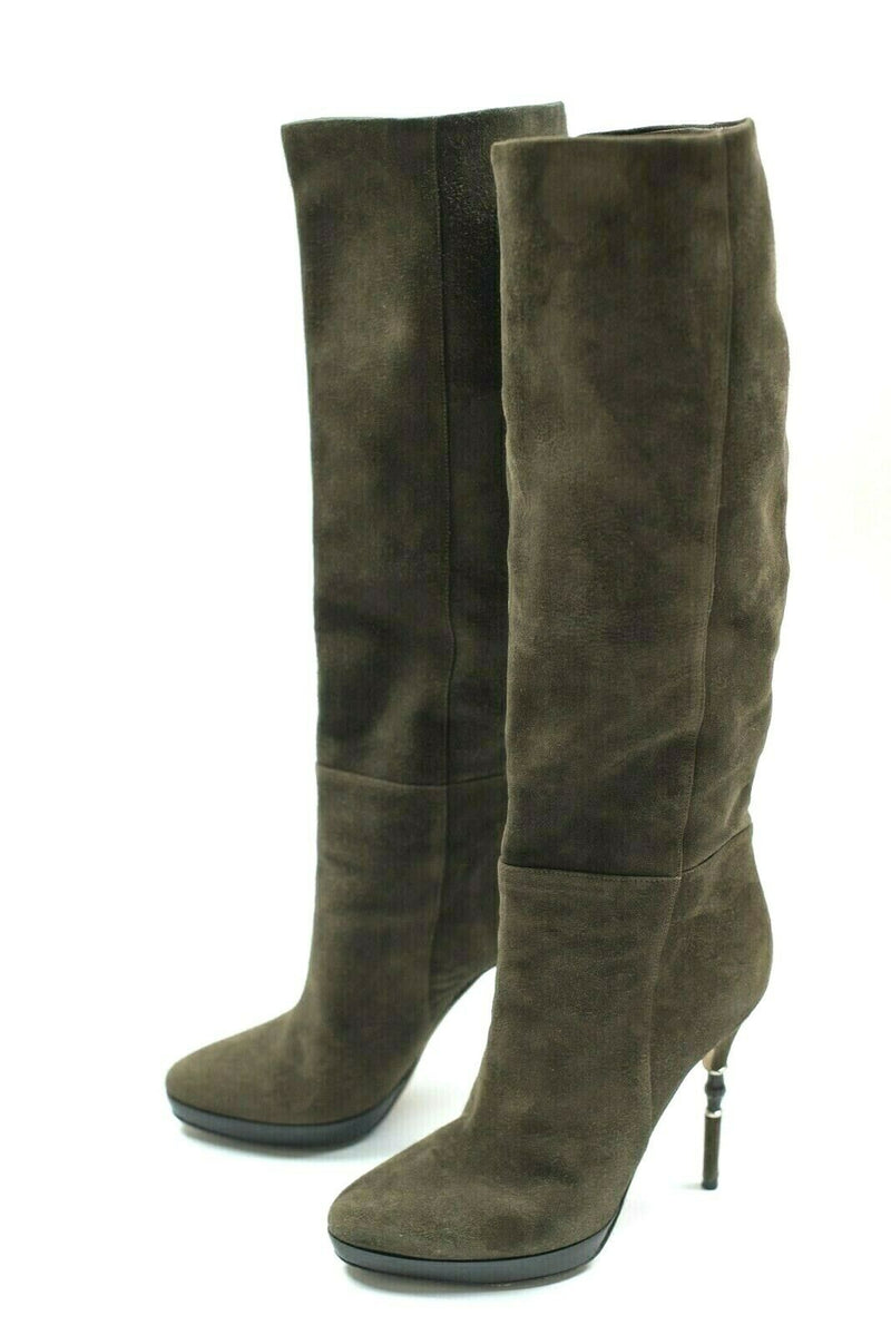 Gucci Womens Size 37 Brown Bamboo Knee-High Suede Boots Platform Spike Heel