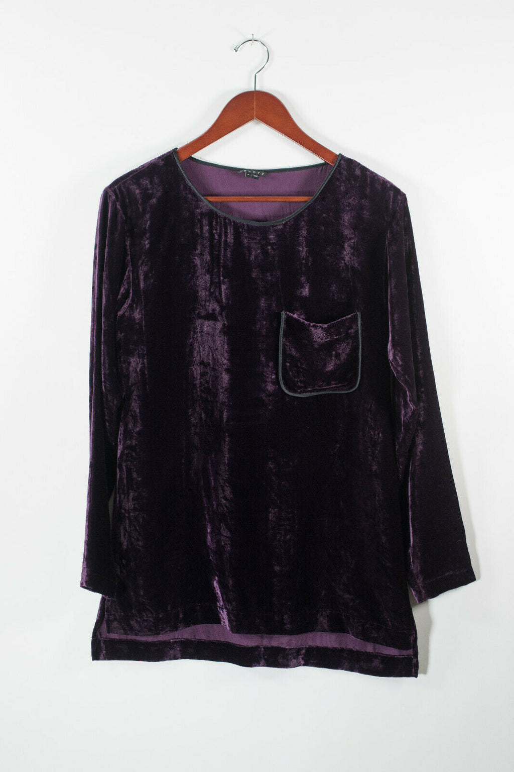 Theory Womens Petite Purple Shirt Crushed Velvet Silk Blouse Top Front Pocket