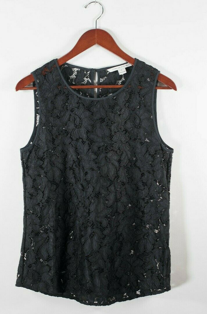 Diane von Furstenberg DVF Womens 8 Medium Black Tank Top Sleeveless Lace Blouse