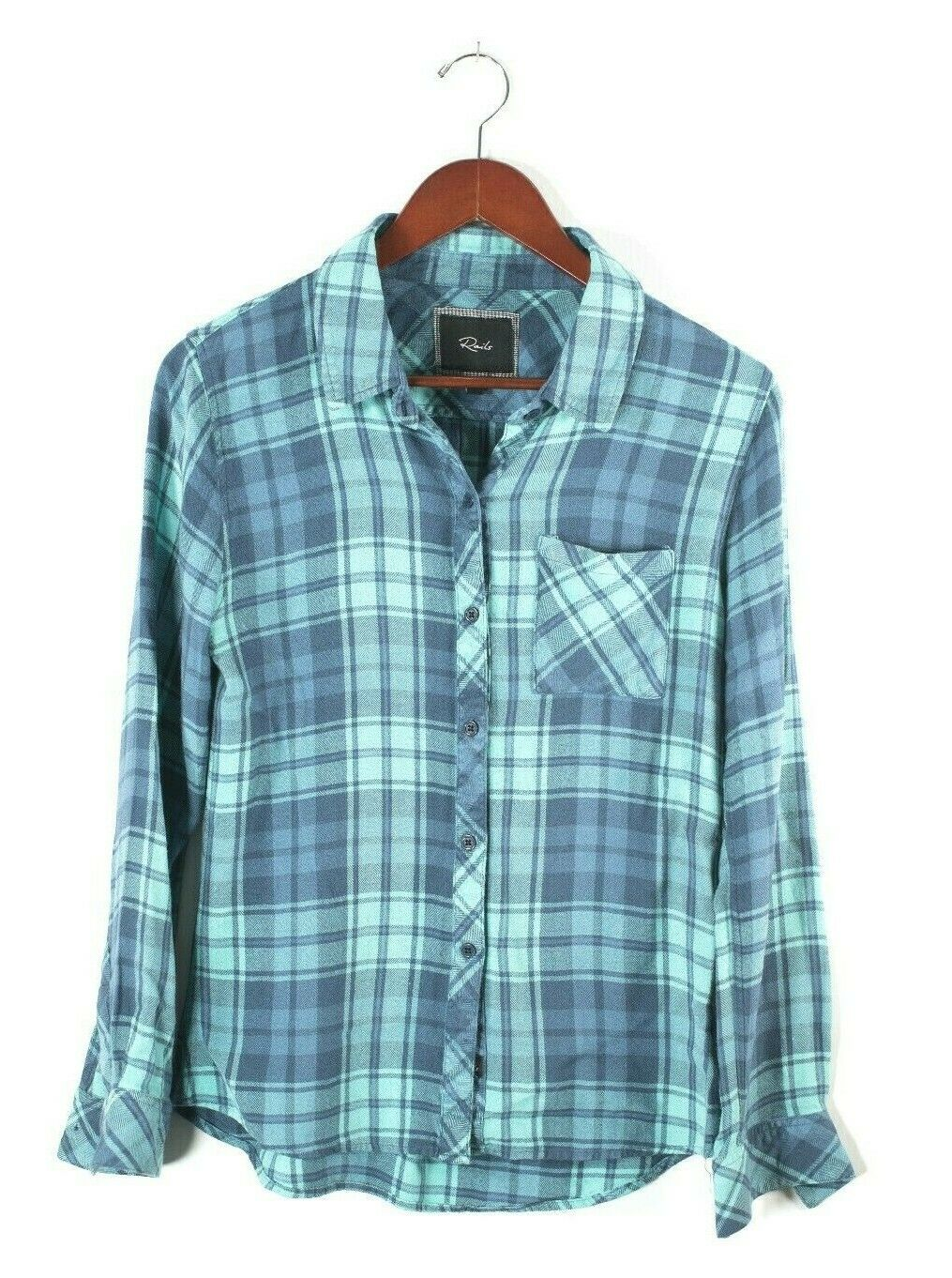 Rails Womens Small Blue Shirt Plaid Long Sleeve Button Down Hunter Blouse Top
