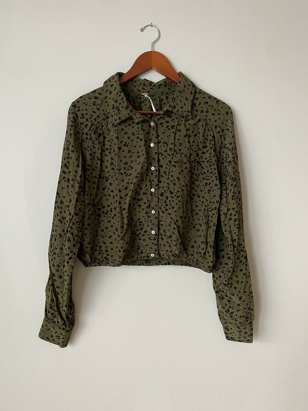 Free People Women's Small Green Black Blouse Elastic Waist Button Up Shirt Top