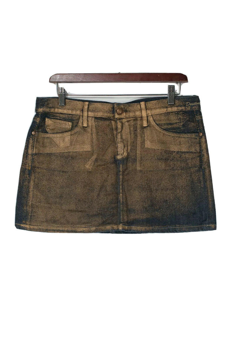 Goldsign Size 29 Gold Denim Mini Jean Skirt