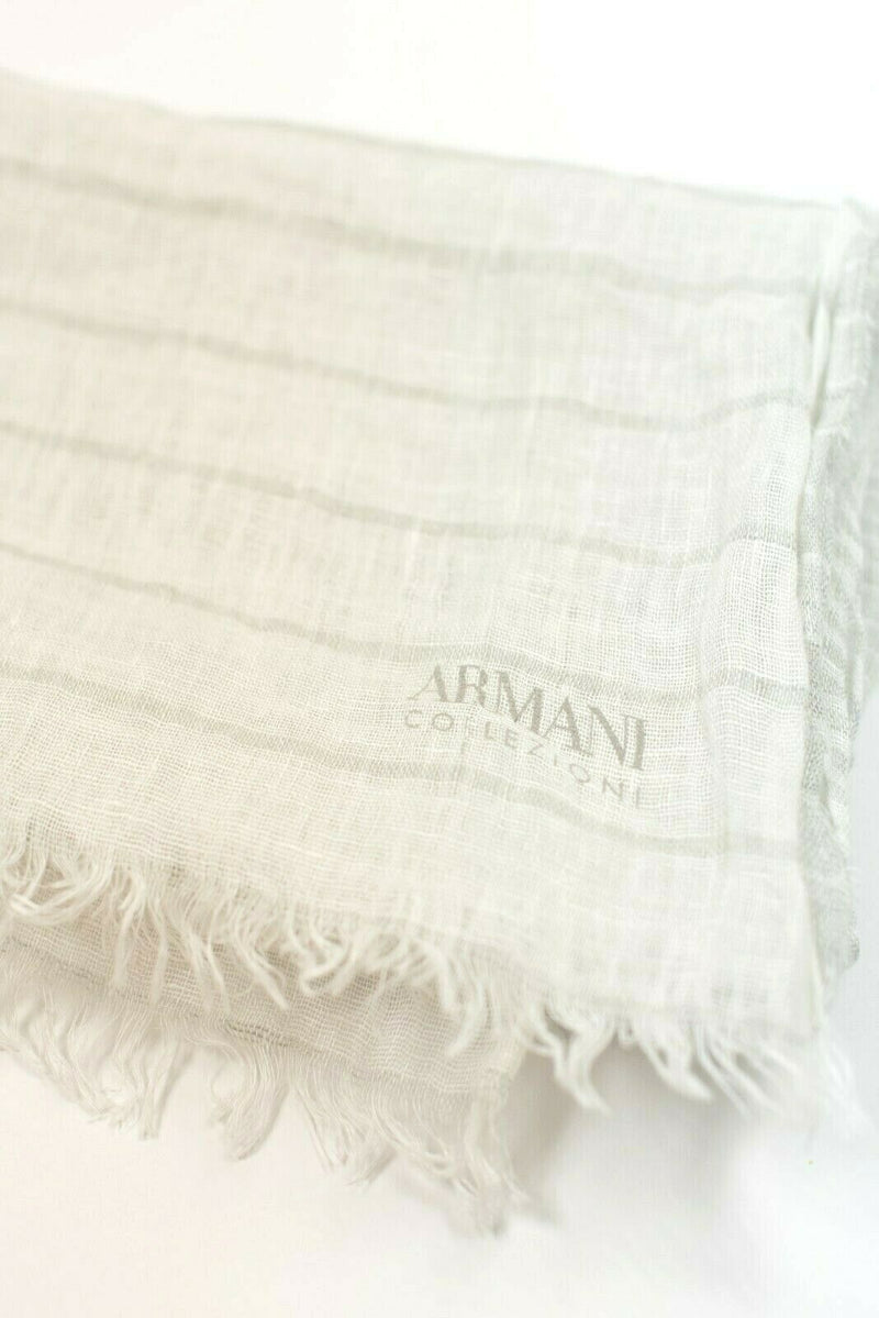 Armani Collezioni Womens White Grey Scarf Lightweight Linen Logo Stripes