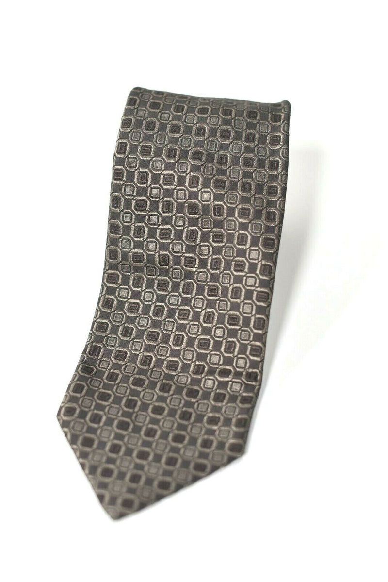 Hugo Boss Mens Brown Taupe Neck Tie Circle Print Graphic 100% Silk Made In Italy