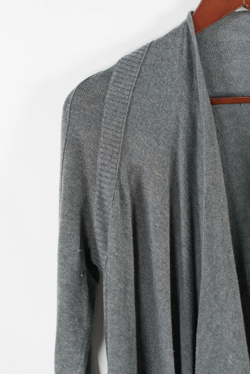 Lululemon Womens Medium 6 8 Grey Cardigan Knit Waterfall Drape Open Sweater