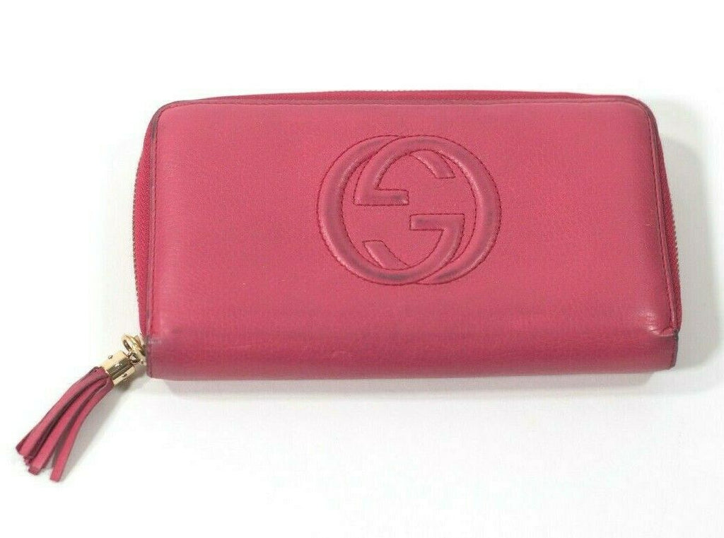 Gucci Womens Soho Disco Fuschia Pink Wallet Zip Around Leather Clutch Tassel Zip