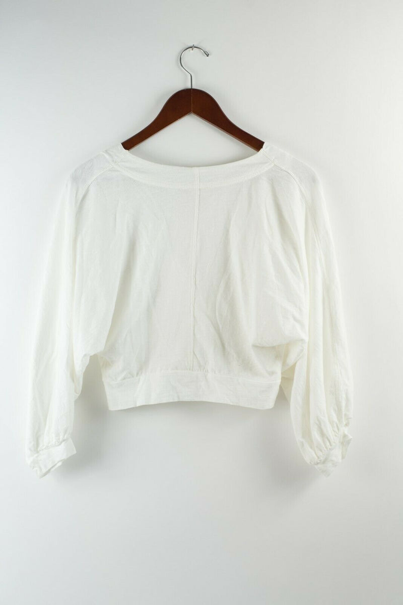 We The Free Womens Small White Sweater Scoop Neck V Neck Pullover Shirt Blouse