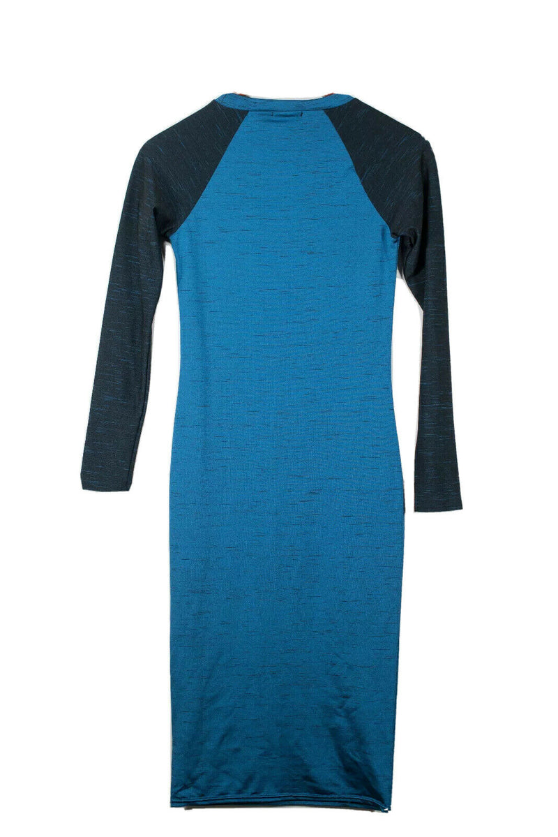Topshop Women Size 2 Blue Black Dress Long Sleeve Bodycon Stretch Crew Neck Mini