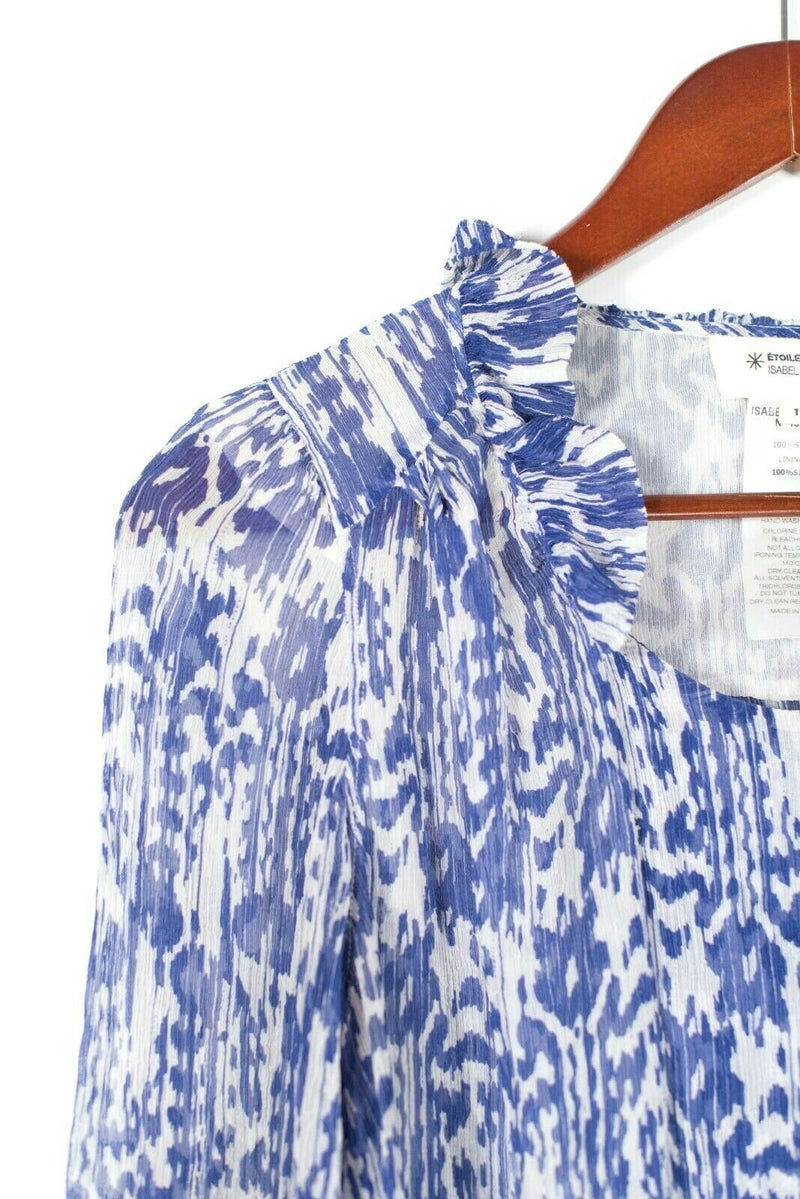 Isabel Marant Etoile Womens 1 Small Indigo Top Printed Crinkled Silk Blouse $250