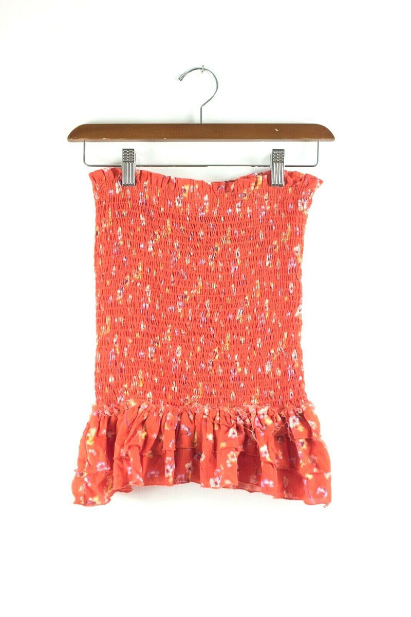 Blue Life Planet Womens Medium Red Skirt Last Night Wildflower Wildfire Mini NWT