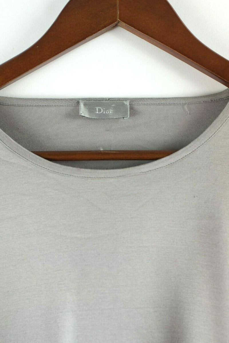Dior Homme Mens Large Grey White Shirt Cotton Bee Long Sleeve French Cuff Shirt