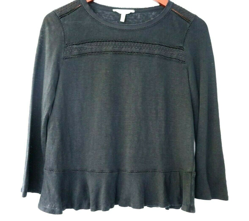 Rebecca Taylor Womens Size Medium Black Linen Top