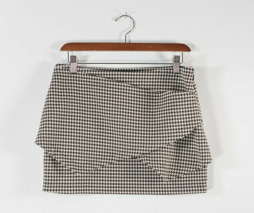 Zara Trafaluc Womens Medium Black White Skort Geometric Pattern Mini Zip Skirt