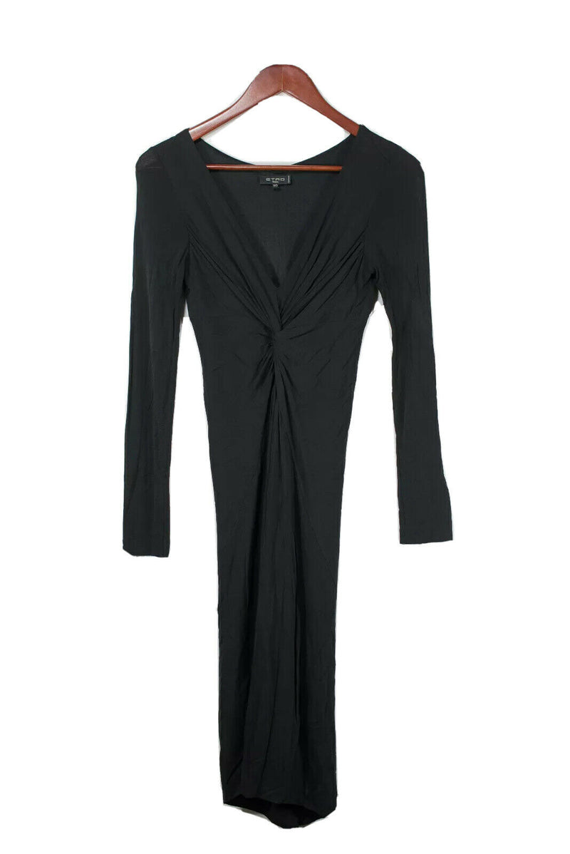 Etro Womens Size 40 Small Black Dress Stretchy Long Sleeve Knot Front Nylon Silk