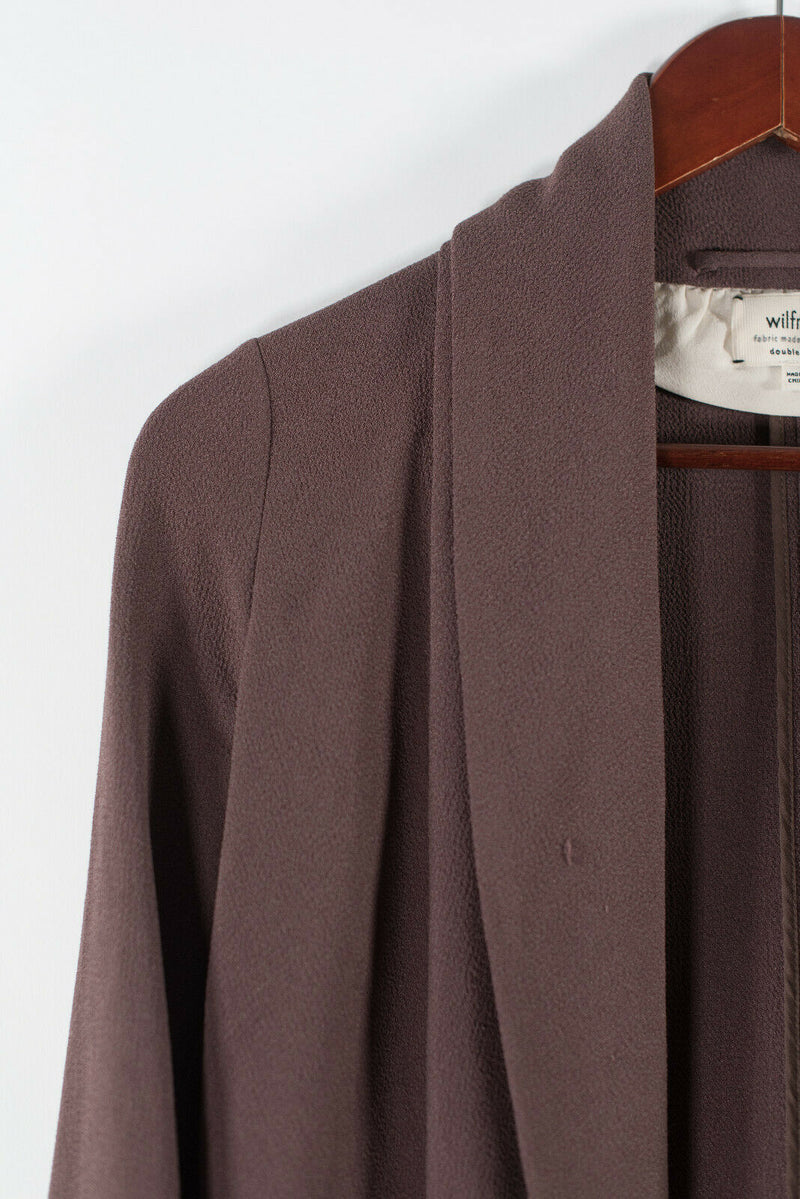 Aritzia Wilfred Womens Size 00 XXS Brown Chevalier Jacket Open Crepe Blazer $228