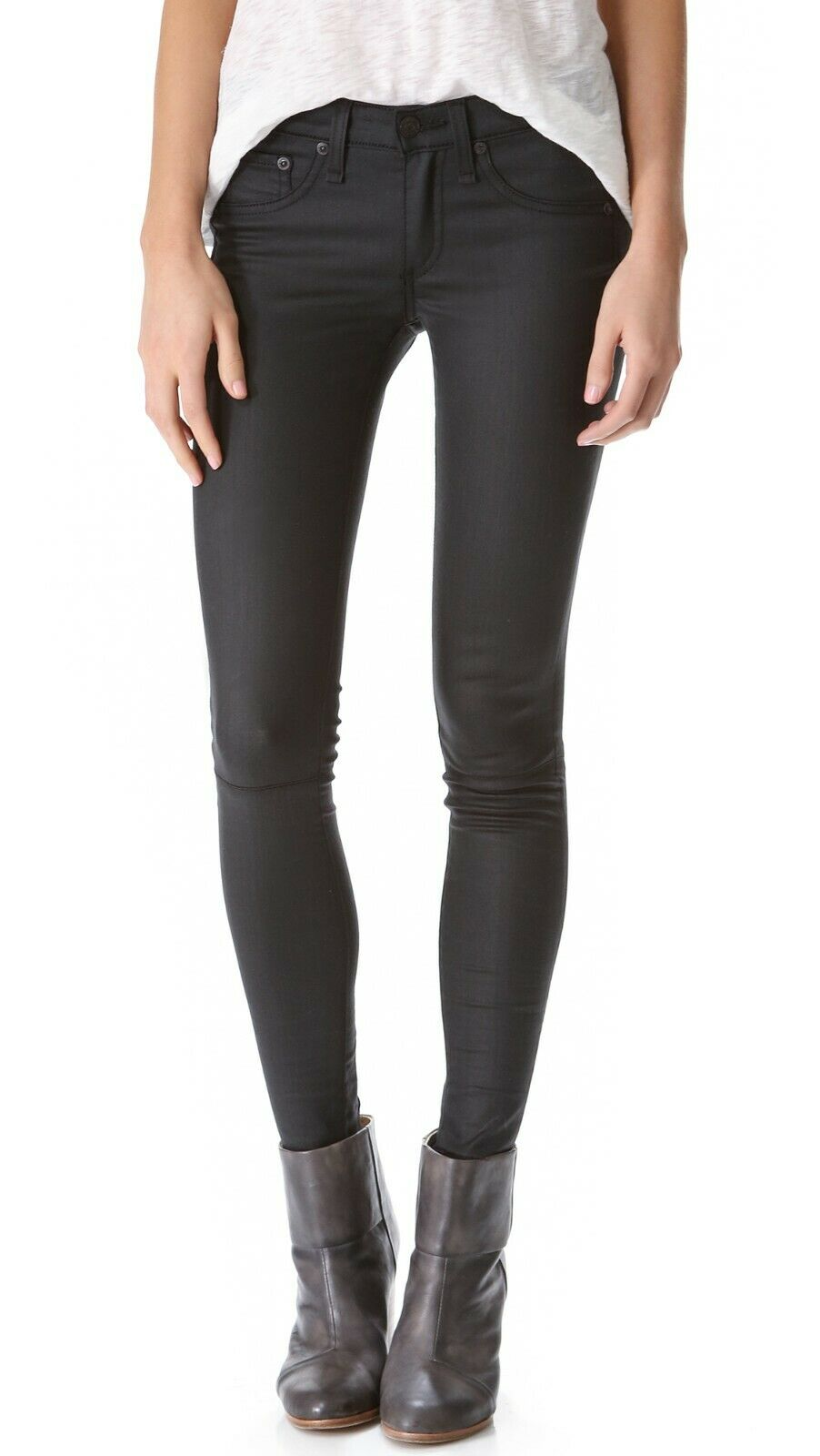 Rag & Bone/JEAN Womens Size 28 Black Denim Devi Lace Up Coated Skinny Jeans $250