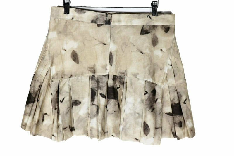 Marni Women's Size 40 Beige Cotton Pleated Mini Skirt