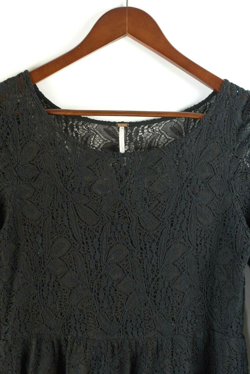 Free People Womens Small Black Dress Lace Mini Crochet 3/4 Sleeve A Line Boho