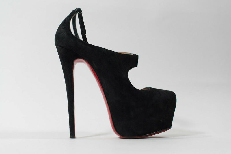 Christian Louboutin 37.5 Black Pumps 160mm Platform Maillot Mary Jane Suede Heel