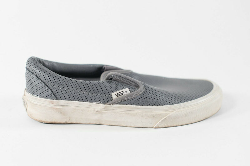Vans Women's Size 7 Gray Flats Slip On Perforated Leather Sneakers Flat Shoes