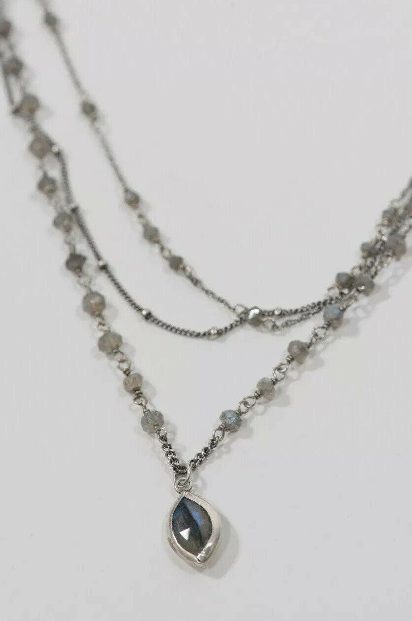 Chan Luu Purple 925 Multi Strand Labradorite Mix Necklace