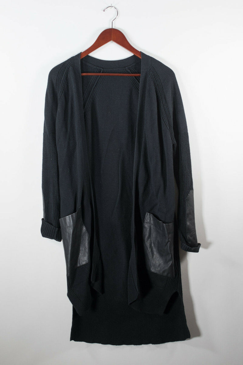 Banana Republic Womens Small Black Longline Cardigan Knit Sweater Pockets Maxi