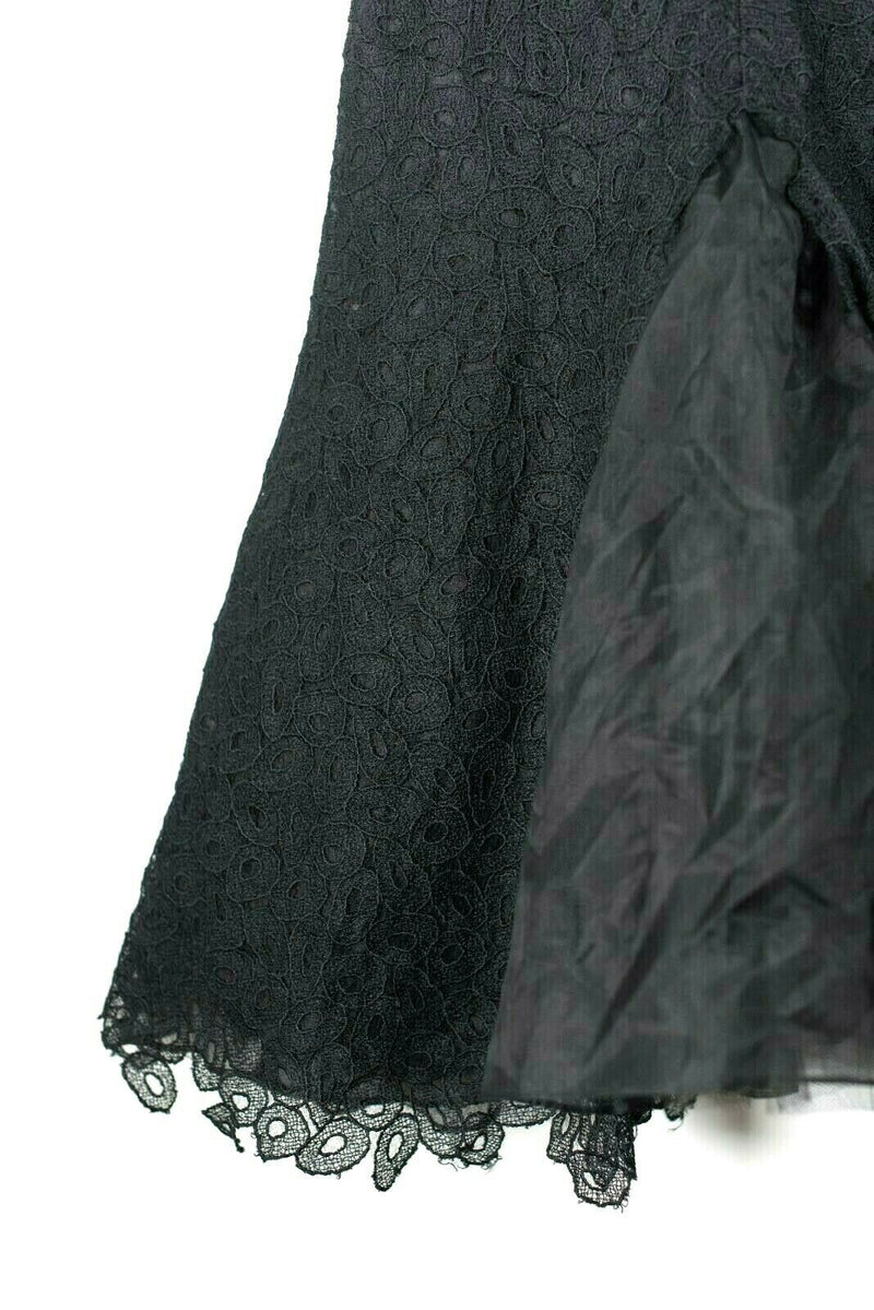 Pamella Roland Womens Small Black Gown Jacquard Cap Sleeve Mesh Lace Dress $990