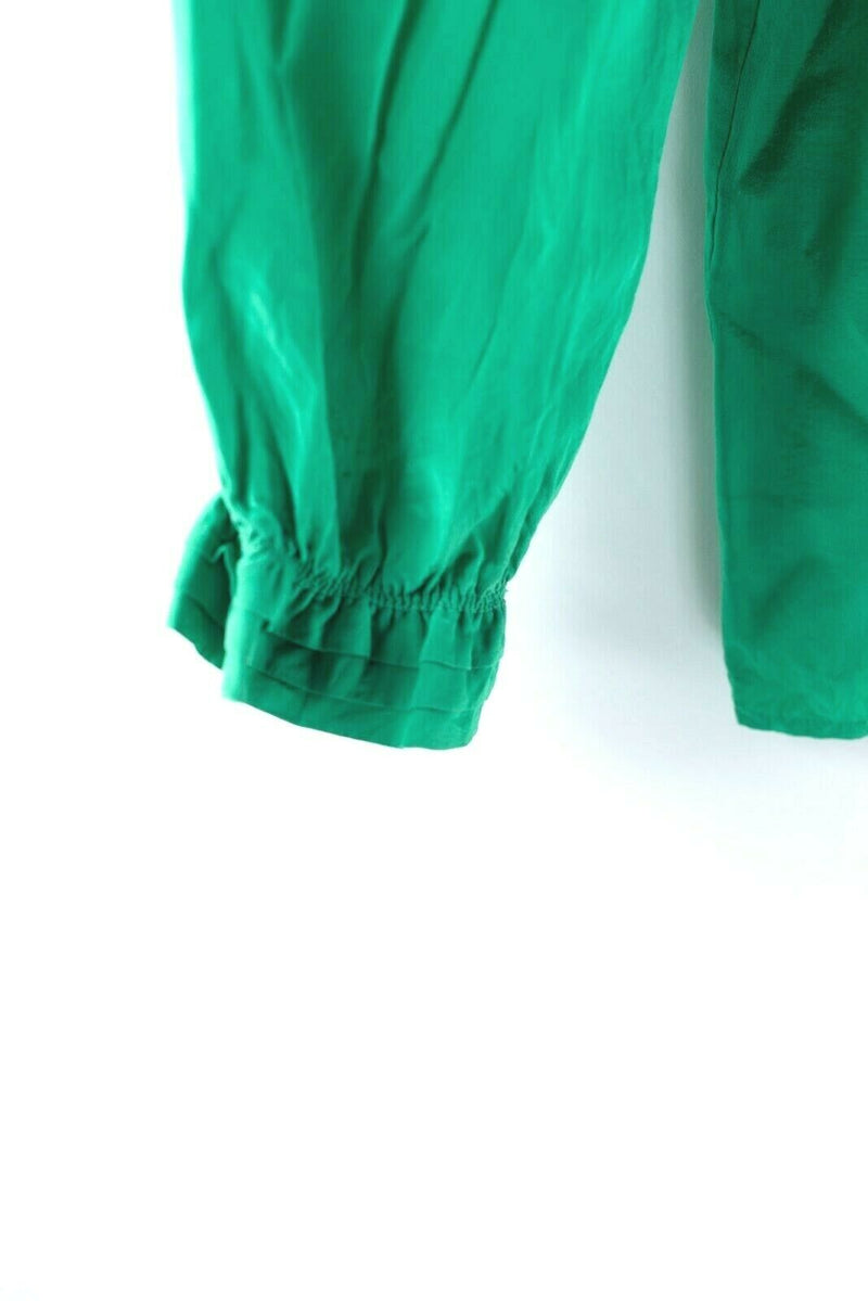 Paco Rabanne Womens Size 40 Small Emerald Green Blouse Silk Vintage Paris Top