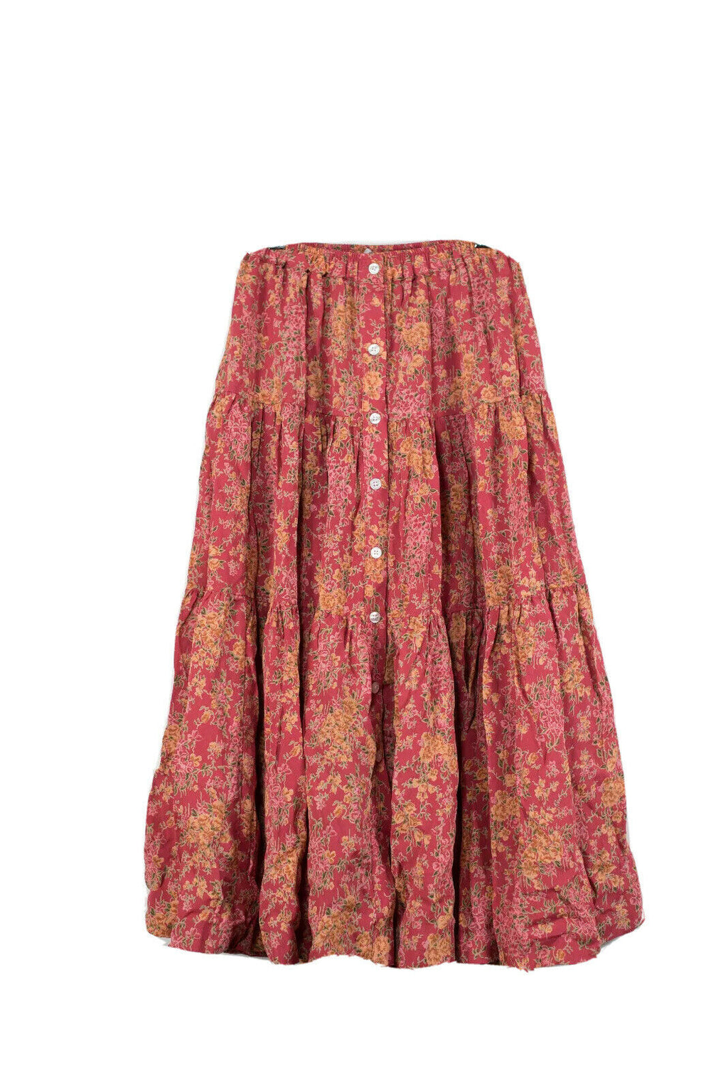 Christy Dawn XS Red Button Front Floral Skirt