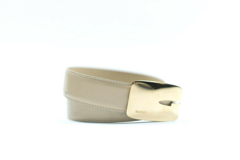 Gucci Womens XS/S Cream Waist Belt Thin Leather Authentic Vintage Gold G Buckle
